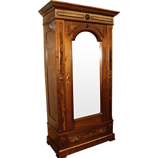 Walnut Victorian Wardrobe with Single Mirrored Door