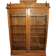 Antique Oak Two Door Bookcase