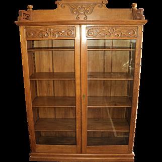 Antique Oak Two Door Bookcase