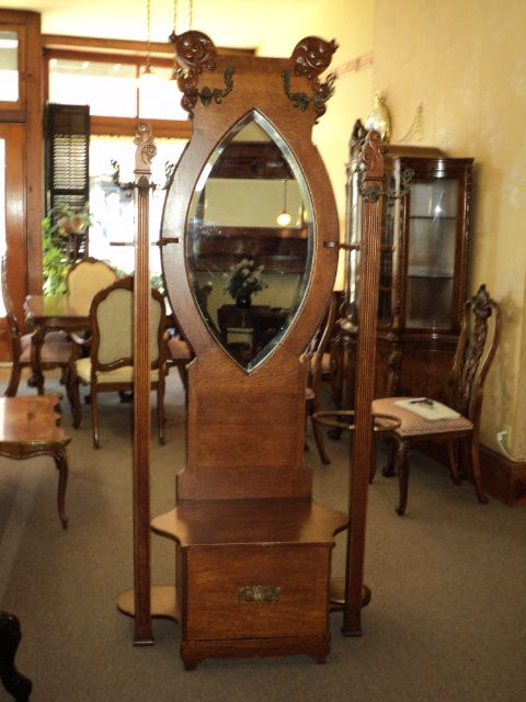 Antique Oak Hall Tree W Beveled Mirror On Sale Sold On