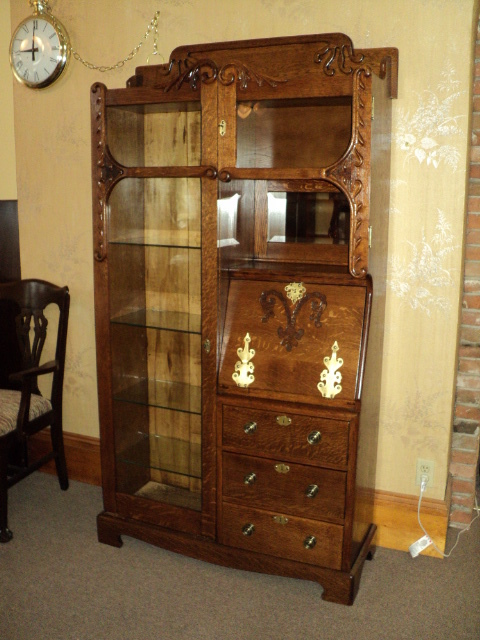 "Oak ""Cowboy Style"" Side by side Desk/Bookcase/Display Cabinet, ON SALE!"
