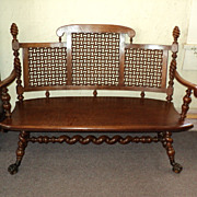 Merklen Brothers Oak Hall Bench, 1885 to 1890, ON SALE!