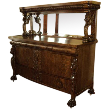 Winged Griffin Quarter Sawn Oak Buffet, ON SALE!