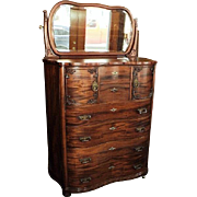 Antique Mahogany Chest of Drawers w. Mirror, Circa 1900
