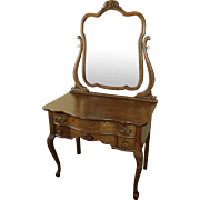 Antique Oak Vanity W. Beveled Dressing Mirror, Circa 1900