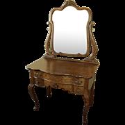 Antique Oak Vanity W. Beveled Dressing Mirror, Circa 1900