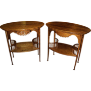 Pair of Oak Stick & Ball End/Lamp Tables, Circa early 1900's