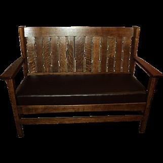 Antique Oak Mission Settee, Bench, Loveseat,