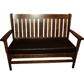 Antique Oak Mission Settee, Bench, Loveseat,