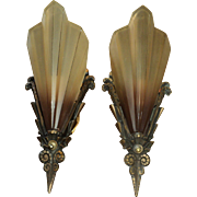 Pair of Art Deco Brown Tip Slip Shade Sconces