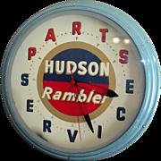 Vintage Hudson Rambler Advertising Neon Wall Clock