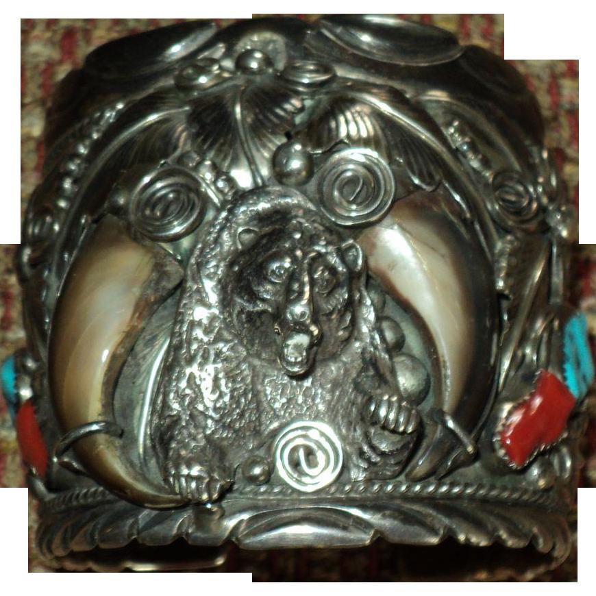 Heavy Navajo Bear Silver Cuff Bracelet by M. Thomas Jr.