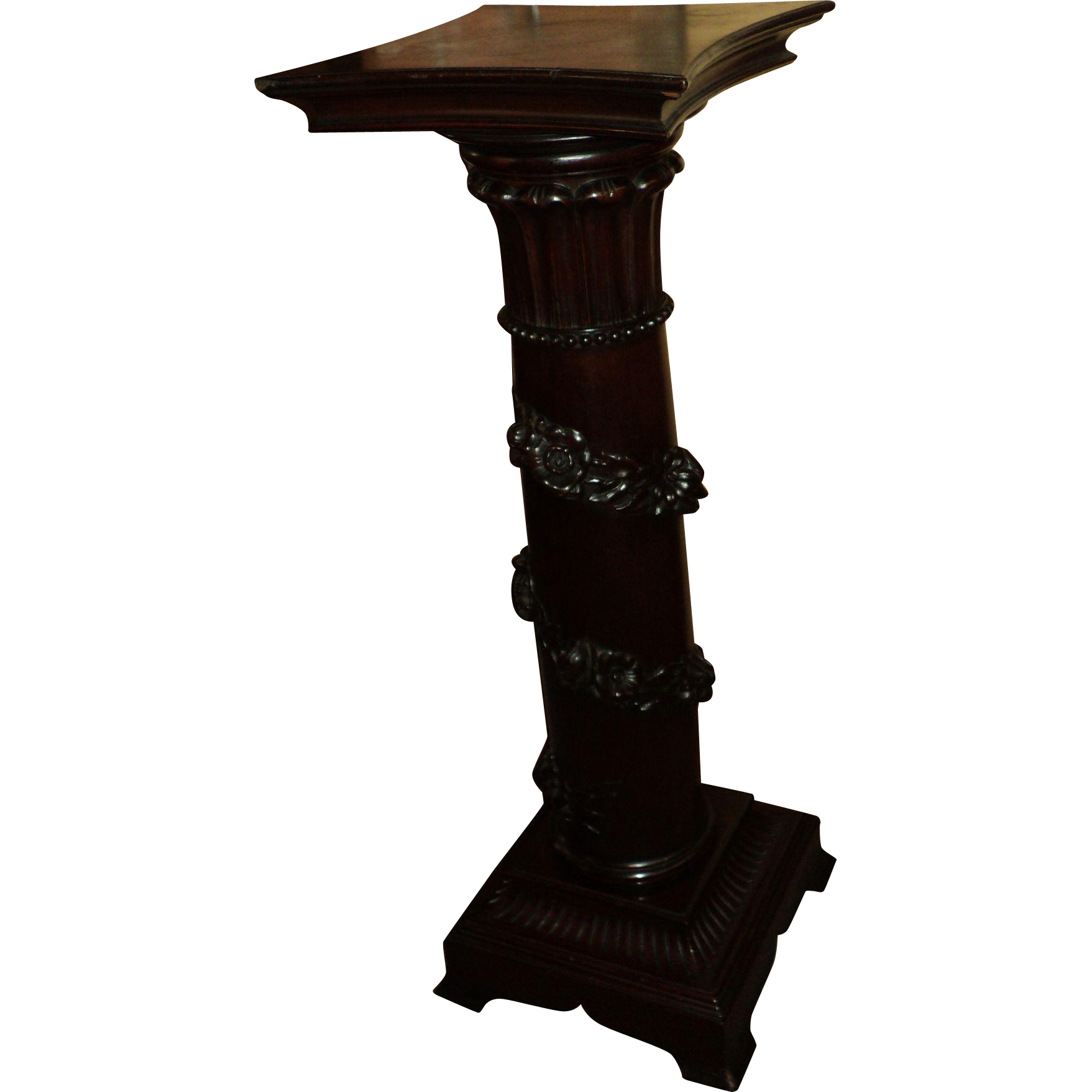 Antique Mahogany Pedestal Plant Stand, Carved Roses