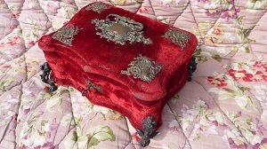 Faded grandeur 19th C French tufted red  &  silk vanity dresser box