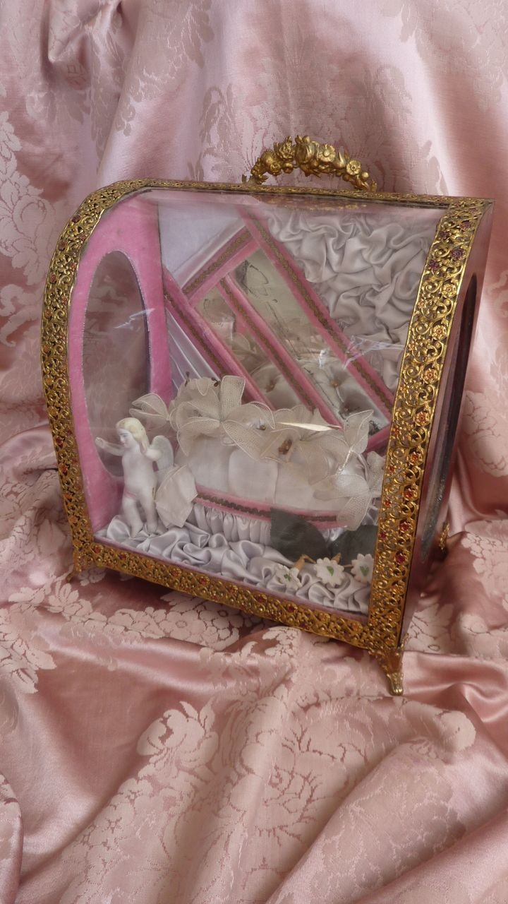 Delicious antique French boudoir pink grey display box / casket  angel tiara