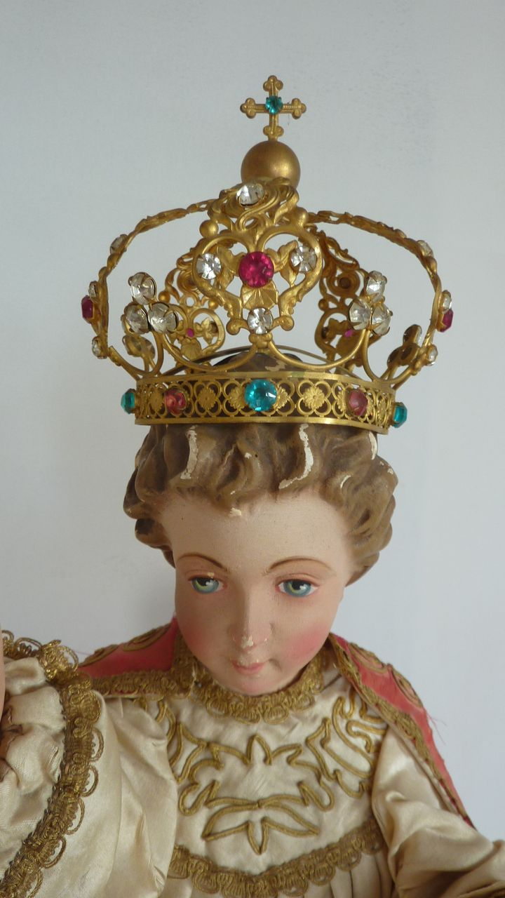 Darling antique ormolu CROWN French religious paste stones