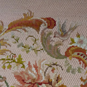 Delicious vintage French needle point tapestry chair seat panel bird