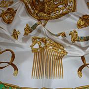 HERMES Elegant Vintage French  silk scarf LES CAVALIERS D'OR