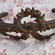 Antique French bed corona / ciel de lit / canopy rose swags ribbon bow