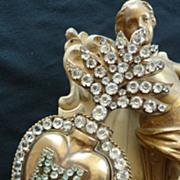 19th C. French ormolu flaming sacred  heart paste stone ex voto reliquary