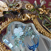 Romantic 19th C. French ormolu wedding cushion display stand swallow