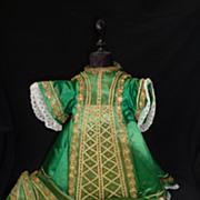Rare ensemble  antique French religious church statue clothing metallic trim