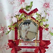 19th C. French velvet wedding basket cushion display ROSES porcelain