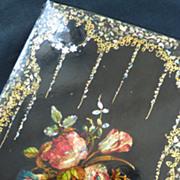 Charming 19th C. French paper mache  writing portfolio  floral bouquet