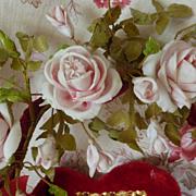 19th C. French  wedding basket display cushion ROSE : CROWN WAX