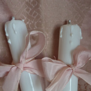 Delicious pair 19th C. French white opaline faux candles candelabra
