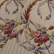 Delicious pair French needlepoint chair covers ROSES  silk wool