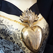 Delicious 19th C French Vermeil  sacred heart ex voto reliquary
