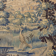 Classical 18th C. Aubusson wall tapestry Fleurs de Lys chateau
