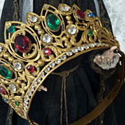 Delicious French religious crown tiara ormolu paste stones