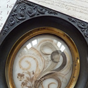 19th C. French hair art mourning remembrance frame Napoleon III period