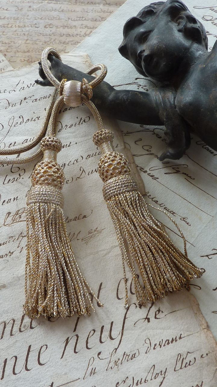 Delicious  French passementerie silver metallic tassels
