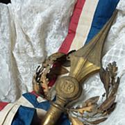 Rare French ormolu flag pole finial  laurel oak wreath crown