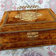 Faded grandeur gold velvet vanity dresser box circa 1900's