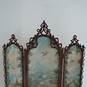 Rare 19th C. miniature painted folding screen A. GIROUX
