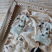 Rare 19th C. French souvenir of childs 1st communion ANGELS