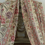 Delicious pair French linen fabric curtains floral foliage motifs