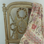 Delicious French linen fabric bed cover floral foliage motifs