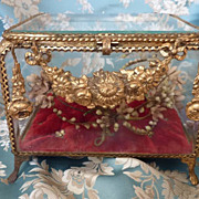 Antique ormolu glass wedding casket box  wax crown ROSES