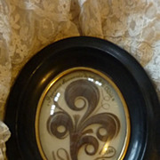 Delicious 19th C. French hair art mourning frame  CHERIE 1886