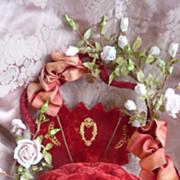 19th C. French wedding basket display cushion ROSES ROSEBUDS