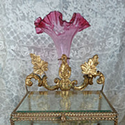 Unusual 19th C. French wedding display  box  vase , wax finery