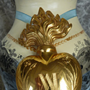 Gleaming  French  sacred heart holy water bottle circa 1880