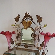 19th C.  ormolu wedding casket display box crown ROSES vases