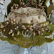 French wedding display basket wax crown porcelain roses