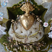 Large flaming sacred HEART  ex voto ormolu initials MA